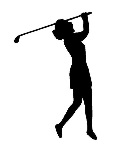 Lady Golfer Vinyl Decal Woman Golf Player Car Window Laptop Sticker