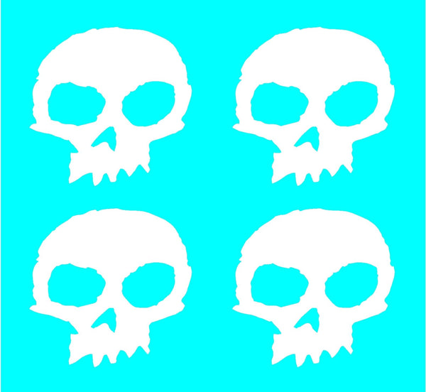 "Zero Skateboards Skull Vinyl Skate Decals 3"" x 3"" Stickers Set of 4"