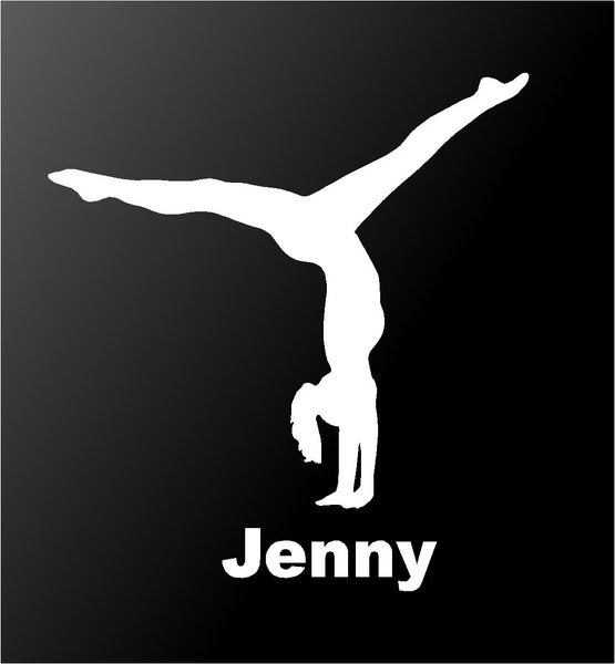 Gymnastics Vinyl Decal Personalized Girl Gymnast Car Window Sticker