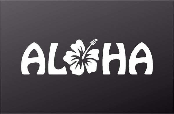 Aloha Hibiscus Hawaii Surf Vinyl Decal Car Window Laptop Sticker