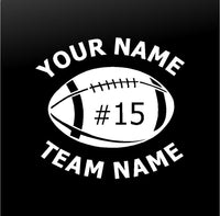 Football Team Player Personalized Car Window Custom Vinyl Decal Sticker