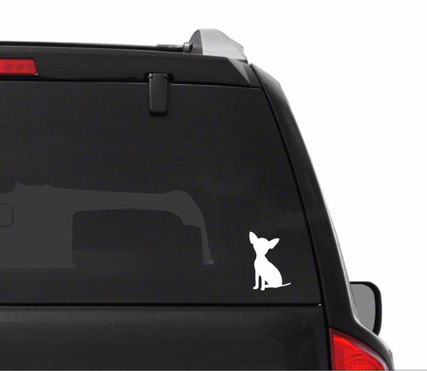 Teacup Chihuahua Vinyl Decal Car Window Laptop Dog Silhouette Sticker