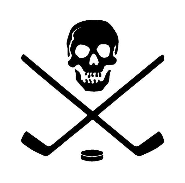 Ice Hockey Skull Crossbones Sticks Vinyl Decal Car Window Laptop Sticker