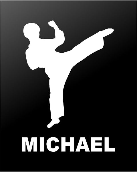 Martial Arts Vinyl Decal Personalized Karate TaeKwonDo Boy Car Window Sticker