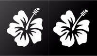 Hibiscus Vinyl Decals Hawaiian Aloha Flower Car Window Laptop Stickers Set of 2