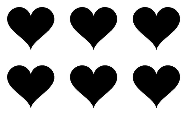 small Heart Symbol Vinyl Decals Phone set of 6 Heart sign Stickers Sheet of 6