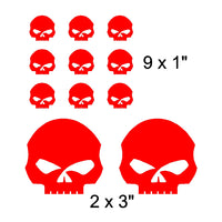 Willie G Style Skull Vinyl Decals Stickers Set