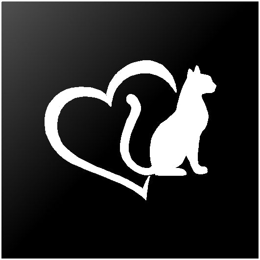 Cat Love Heart Vinyl Decals Pet Lover Sticker
