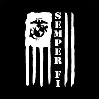 Semper Fi American Flag USMC Vinyl Decal Sticker