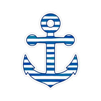 Sticker - Anchor Blue and White Stripes