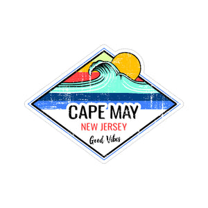 Sticker - Cape May- Sun & Wave Good Vibes Sticker