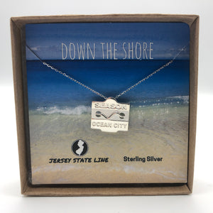 Ocean City - Beach Badge Necklace - Sterling Silver