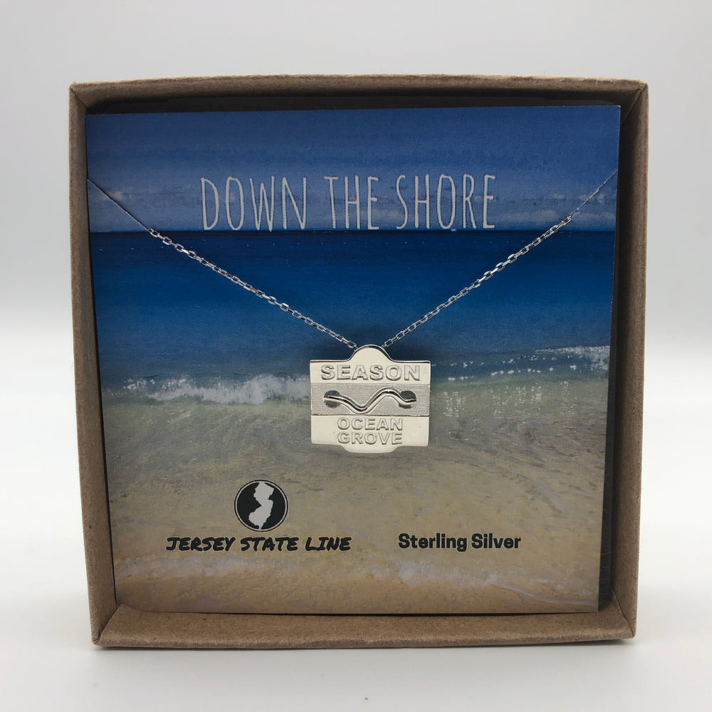 Ocean Grove - Beach Badge Necklace - Sterling Silver