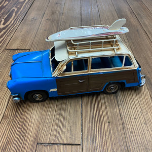 Woody Car w/ Surfboard - Blue & Brown