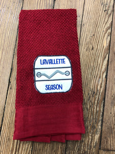 Custom Embroidered Dish Towel - Lavallette - Burgundy