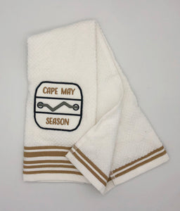 Custom Embroidered Dish Towel - Cape May - White/Tan