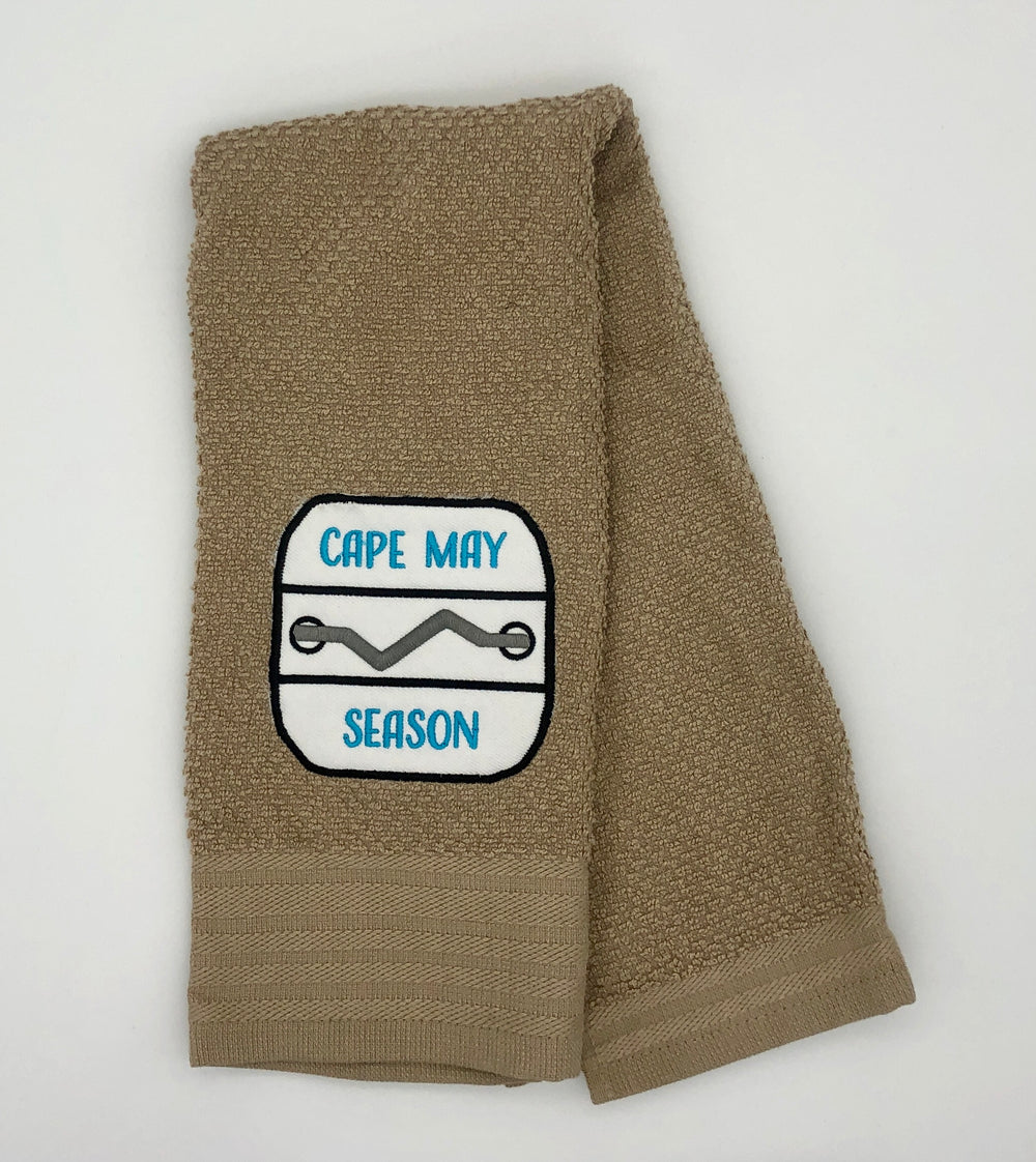 Custom Embroidered Dish Towel - Cape May - Tan w/ turquoise