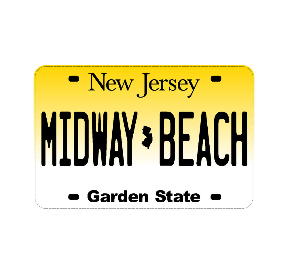 Sticker - Midway Beach - New Jersey License Plate
