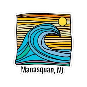 Sticker - Manasquan - Wave w/ Lines
