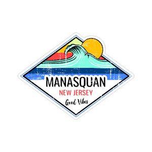 Sticker - Manasquan - Sun & Wave Good Vibes Sticker