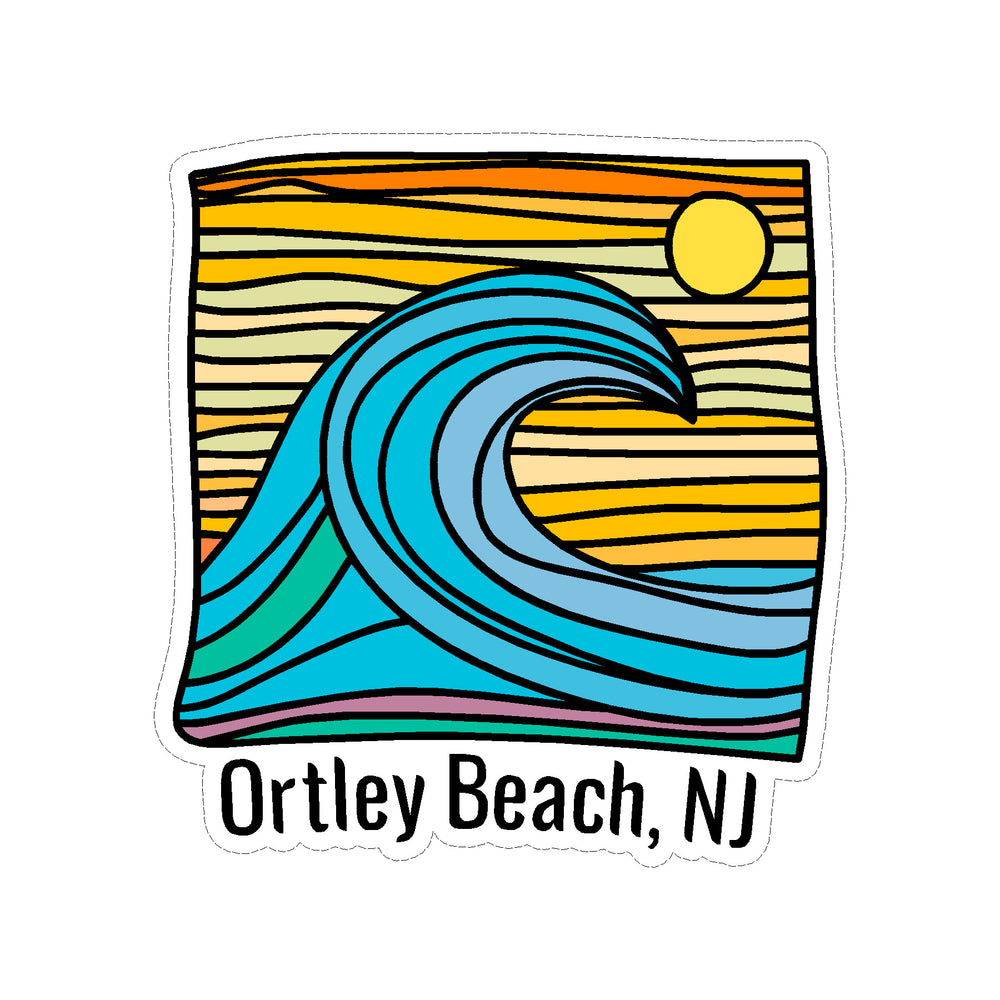 Sticker - Ortley Beach - Wave w/ Lines