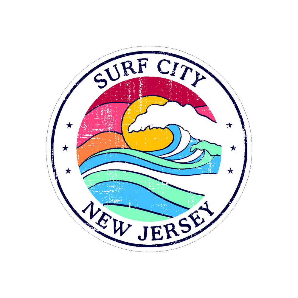 Sticker - Surf City- Sun & Wave Round