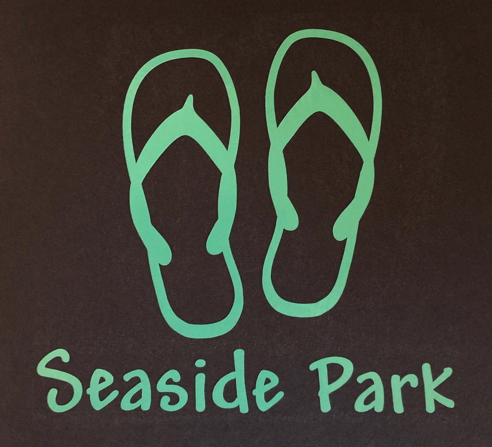 Seaside Park Flip Flops Outline Decal - Teal