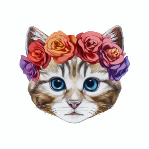 Sticker - Cat with Roses