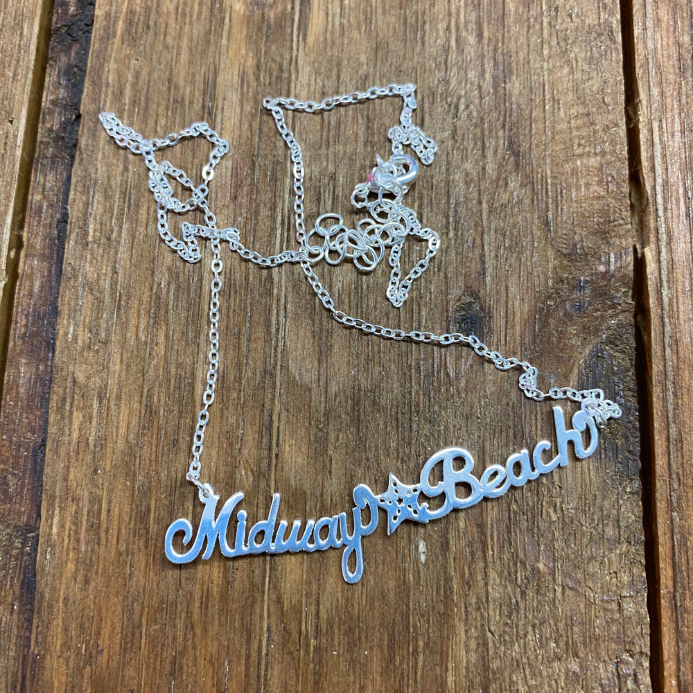 Midway Beach Necklace - Brass Script