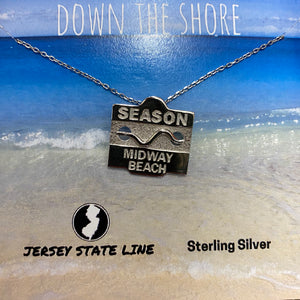 Midway Beach - Beach Badge Necklace - Sterling Silver