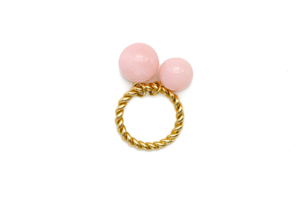 Double Bobble Rope Ring with Pink Opal