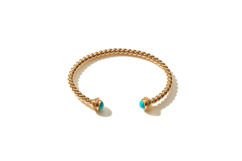 Rope Turquoise Gold Cuff
