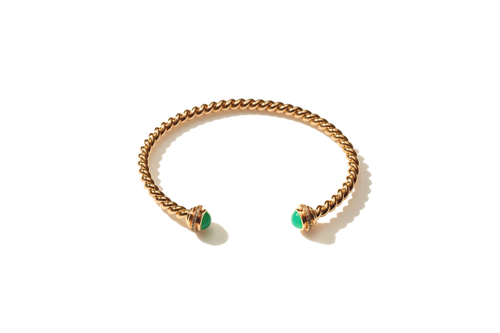 Rope Chrysophrase Gold Cuff