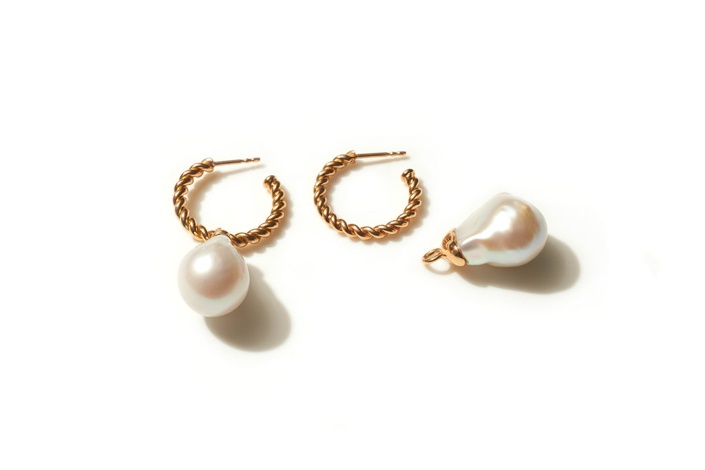 Medium Rope Hoop Earrings with Baroque Pearl Drops