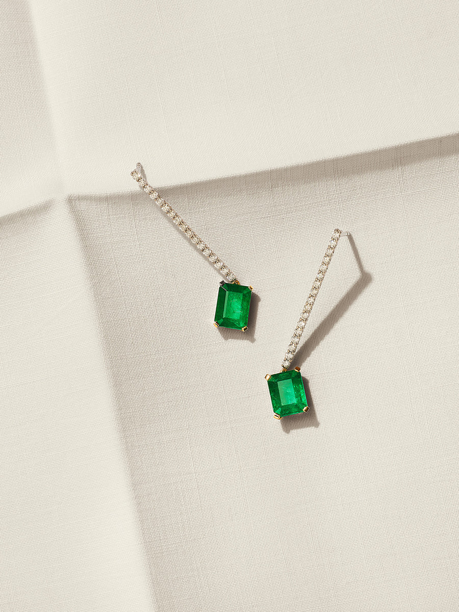 Diamond and Emerald 'Line' Earrings