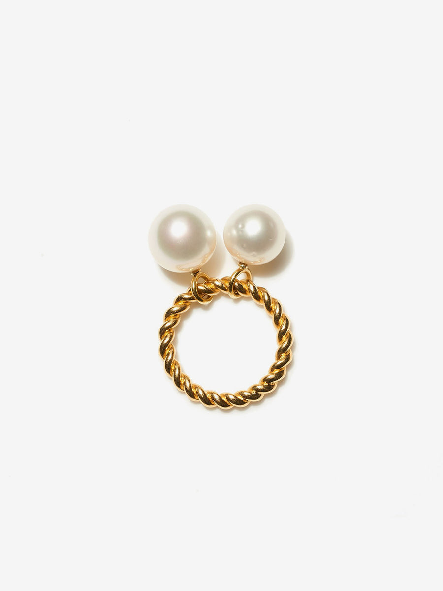 Double Bobble Rope Ring with South Sea Pearls