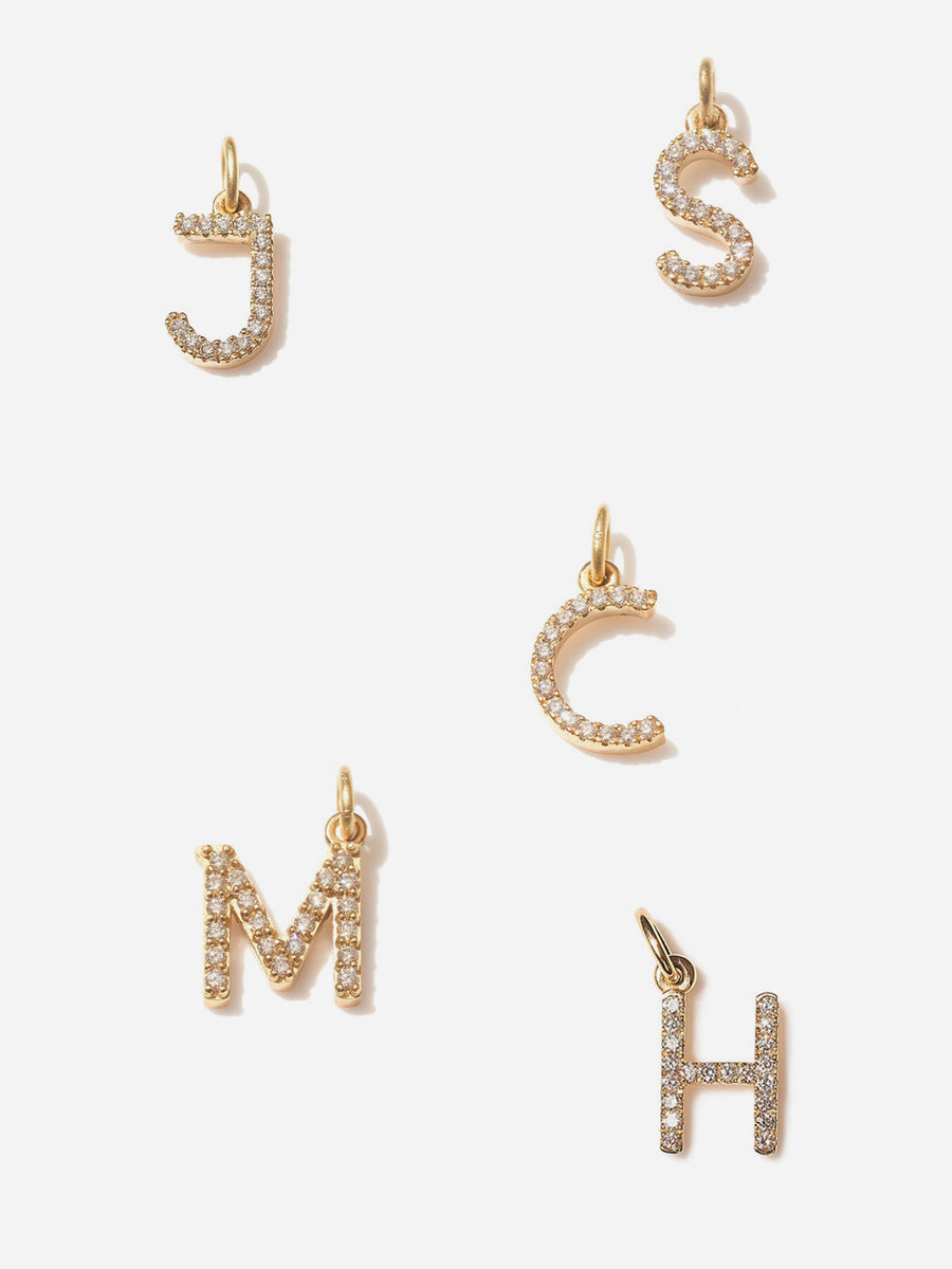MINI DIAMOND LETTER CHARM - YELLOW GOLD