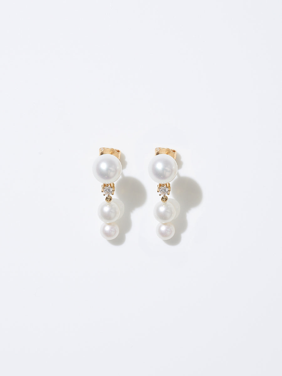 Pearl and Diamond Trois Earrings