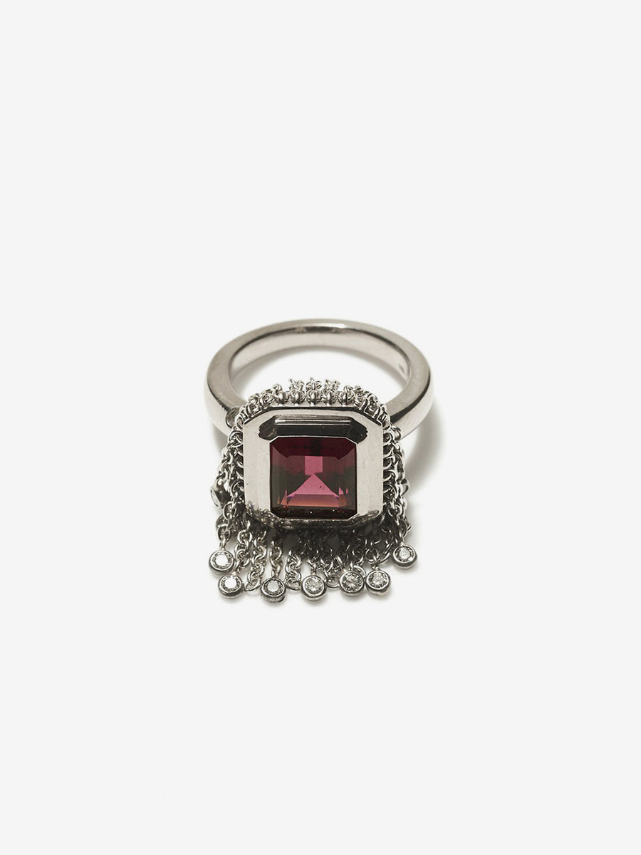 White Gold Rubelite and Diamond Fringe Ring