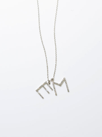 Diamond Initials Necklace - white gold