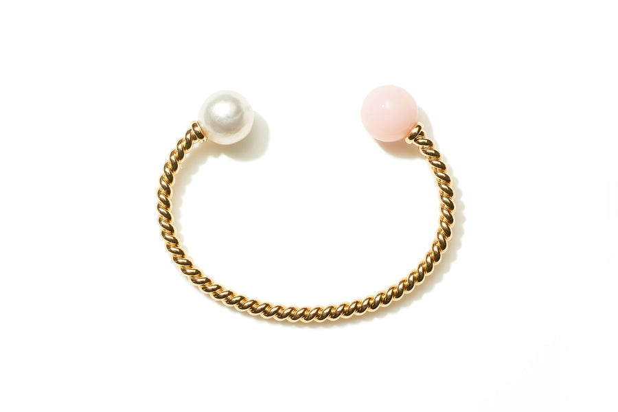 Pink Opal and Baroque South Sea Pearl Rope Cuff