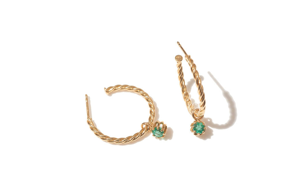 Yellow Gold Thin Rope Hoops with Emeralds