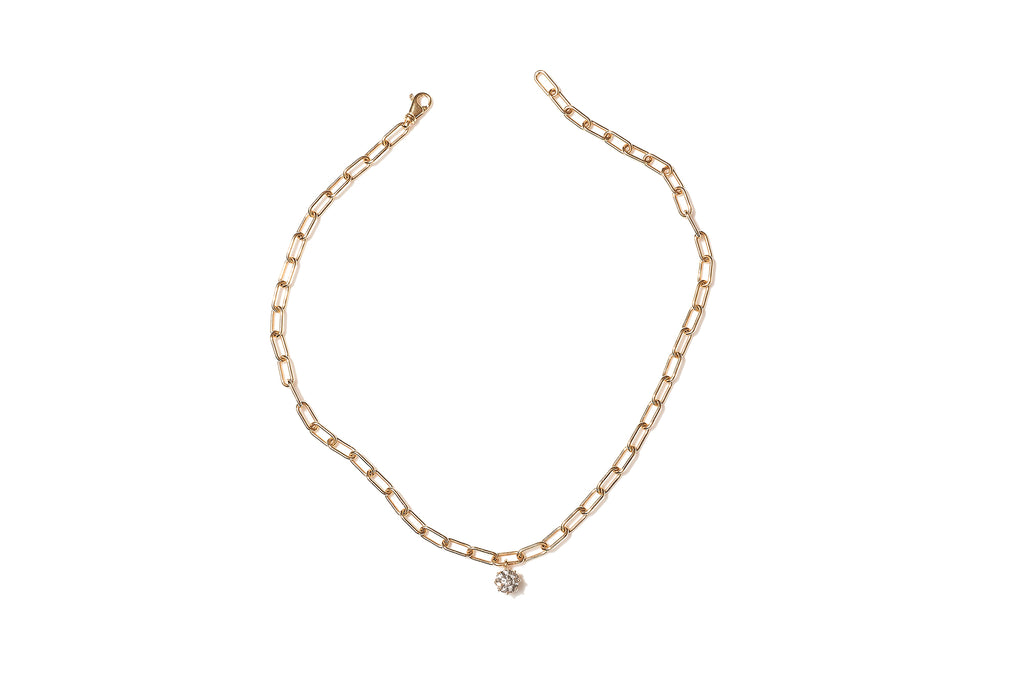 18ct Yellow Gold Chunky 'Solitaire' Diamond Necklace