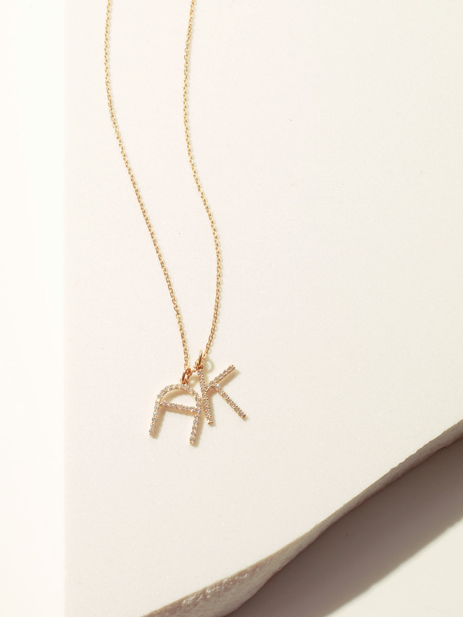 Diamond Initials Necklace - yellow gold