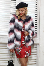 Load image into Gallery viewer, Simplee Pink color mixing faux fur coat women Fluffy warm female outerwear 2017 winter coat jacket long sleeve hairy overcoat