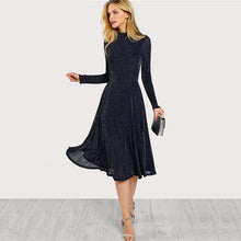 Load image into Gallery viewer, SHEIN A Line Ladies Dresses Navy Long Sleeve Mock Neck Glitter Fit abd Flare Dress Stand Collar Elegant Party Dress
