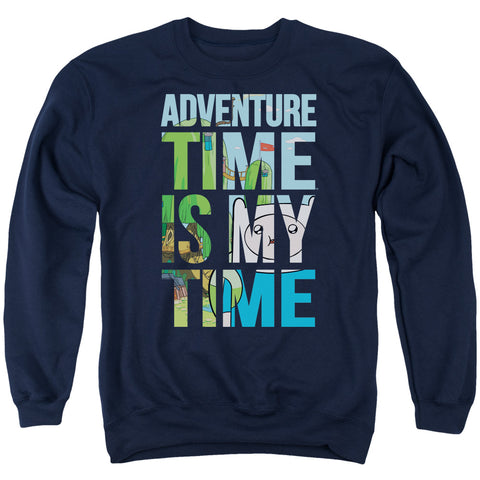 Adventure Time My Time Men's Crewneck 50 50 Poly LS T