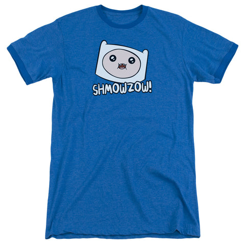 Adventure Time Shmowzow Men's 30/1 Heather Ringer 50 50 Poly SS T