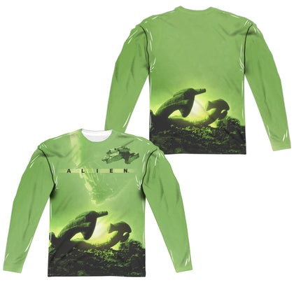 Alien Ship (Front/Back Print) Men's Regular Fit Polyester LS T