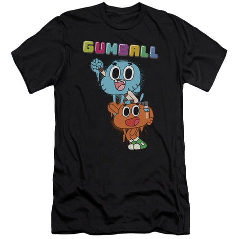 Amazing World Of Gumball Gumball Spray Men's Ultra-Soft 30/1 Cotton Slim SS T